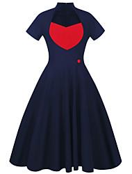 Для женщин На выход На каждый день Офис Простое Очаровательный Уличный стиль Оболочка С летящей юбкой Платье Однотонный Пэчворк,