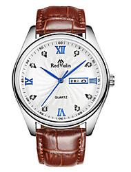 Men's Fashion Watch Wrist watch Quartz Calendar Leather Genuine Leather Band Brown