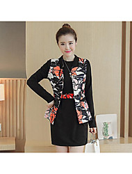 Mujer Simple Casual/Diario Otoño Blazer Vestidos Trajes,Escote Redondo Patrón Microelástico