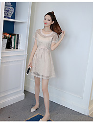 Women's Casual/Daily Active A Line Dress,Solid Round Neck Knee-length Short Sleeve Cotton Summer Low Rise Stretchy Opaque