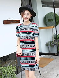 Women's Going out Casual/Daily Simple Street chic Sheath Dress,Solid Round Neck Above Knee Long Sleeve Black Rayon Polyester Fall Winter