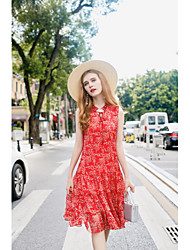 KANF Women's Going out Casual/Daily Simple Cute Chiffon DressFloral Stand Knee-length Sleeveless Polyester Spring Summer Mid Rise