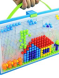 Approx 296Pc DIY 3D Mushroom Nail Beads Insert Plug Assembly Set & Pegboard Flashboard Box Mosaic Jigsaw Puzzle Toy Kit Mixed Random Size Color