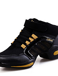 Damen Tanz-Turnschuh Tüll Sneakers Im Freien Farbaufsatz Flacher Absatz Fuchsia Schwarz und Gold Schwarz/Rot 2,5 - 4,5 cm Maßfertigung