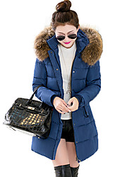 Abrigo Largo Acolchado Mujer Simple Chic de Calle Noche Casual/Diario,Un Color Poliéster Poliéster Con Capucha Manga Larga,