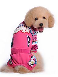 Cachorro Moletom Roupas para Cães Casual Floco de Neve Azul Rosa claro