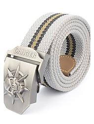 Men's Skeleton Alloy Outdoor Waist Belt Casual/Business Color Block Striped Cotton Canvas Belt Khaki/Black/Army Green/Grey