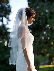 Elegant Simple Wedding Veil Two-tier Elbow Veils Cut Edge Chiffon