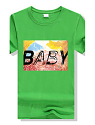 Men's Round Neck Large Size Candy Colors Fruit Green Printing Fast-drying Short-sleeved Sports Fitness Cotton T-shirt