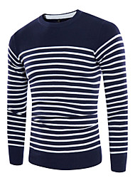 Men's Casual Simple Regular Pullover,Striped Round Neck Long Sleeve Cotton Blend Fall Medium Micro-elastic