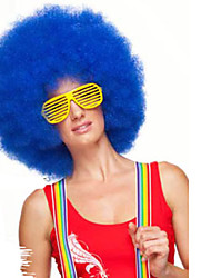 Blue Afro Jumbo Festival Fans Wig clown Costume Halloween Dress Up party Wig Synthetic Hair