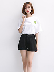 Women's High Waist Micro-elastic Shorts Pants,Simple Slim Solid