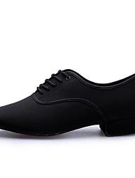 Men's Latin Canvas Fabric Heels Practice Black