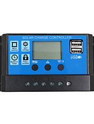 24V 12V Auto Solar Panel Battery Charge Controller  20A  PWM LCD Display Solar Collector Regulator with Dual USB Output