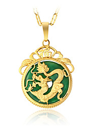 Men's Women's Pendant Necklaces Jade Round Irregular Dragon Alloy Circular Dangling Style Vintage Luxury Costume Jewelry Jewelry For