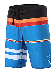 Men's Quick-Drying Breathable Bottoms Striped Print Beach/Swim Shorts Polyester Summer Blue/Navy Blue