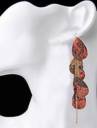 Drop Earrings Women's Euramerican Fashion Tassel range Snakeskin Elliptical Exaggerated Long Earrings Drop Dangle Earrings Movie Jewelry Party Daily