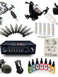 1 Set High Born Tattoo Kit 026-G2A6A2W 2 Machines  With 7x15ML Inks 5 Needles Power Supply Switch