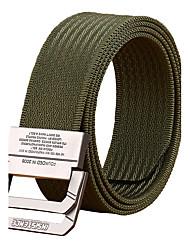 Men's Alloy Outdoor Waist Belt Casual/Business Solid Pure Color Nylon Canvas Belt Black/Khaki/Army Green