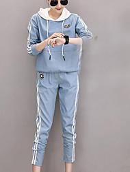 Sweat à capuche Pantalon Costumes Femme Hiver Manches longues Micro-élastique