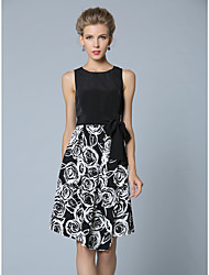 SHE'SWomen's Work Sophisticated A Line DressFloral Round Neck Knee-length Sleeveless Polyester Summer Mid Rise Inelastic Thin
