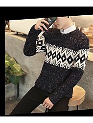 Men's Casual Simple Regular Pullover,Striped Geometric Round Neck Long Sleeve Cotton Knitwear Spring Fall Medium Micro-elastic