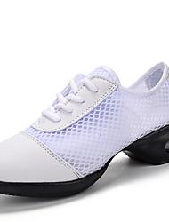 "Women's Dance Sneakers Tulle PU Heels Practice Low Heel White Black Black-white 2"" - 2 3/4"""