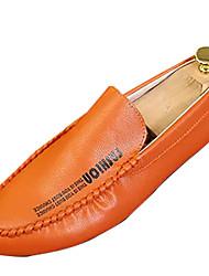Homme Mocassins et Chaussons+D6148 Moccasin Polyuréthane Printemps Automne Décontracté Marche Moccasin Talon Plat Blanc Noir Orange Plat