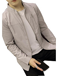 Men's Daily Casual Nature Inspired Casual Spring/Fall Jacket,Solid Stand Long Sleeve Regular Polyester Taffeta