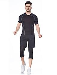 Homme Tee-shirt de Course Manches Courtes Fitness, course et yoga Séchage rapide Ensemble de Vêtements pour Yoga Course Exercice &