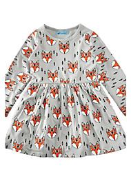 Robe Fille de Motif Animal Coton Printemps Automne Manches longues