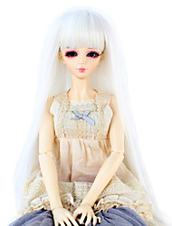 Synthetic Doll Accessories Long Straight White color Hair Neat Straight Bang for 1/3 1/4 Bjd SD DZ MSD Doll Costume Wigs Not for Human Adult