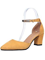 Women's Sandals Summer Cashmere Walking Shoes Rhinestone Low Heel Black Gray Yellow 3in-3 3/4in