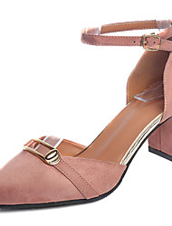 Women's Sandals Comfort Summer Leather Walking Shoes Party & Evening Office & Career Split Joint Low Heel Black Blushing Pink Almond