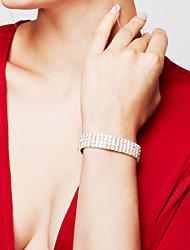 Femme Bracelet Bracelets de tennis Strass Mode Mariée Bijoux de Luxe Elegant Strass Plaqué argent Imitation Diamant Formé Carrée Argent