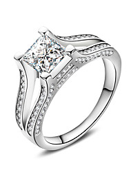 Women's Ring  Fashion Elegant Silver AAA Cubic Zirconia Square Ring Jewelry For Wedding Anniversary Party/Evening Engagement