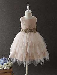 Ball Gown Short/Mini Flower Girl Dress - Organza Jewel with Appliques Lace Tiered Ruched Zipper