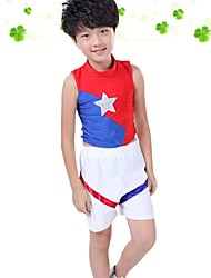 Cheerleader Costumes Outfits Boys' Performance Polyester Pattern/Print Splicing Color Block 2 Pieces Sleeveless Natural Tops Pants