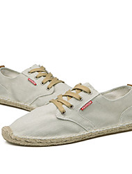 Hombre Zapatillas de deporte Confort Tela Primavera Otoño Casual Con Cordón Tacón Plano Azul Oscuro Gris Caqui 5 - 7 cms