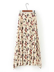Mujer Chic de Calle Adorable Casual/Diario Noche Midi Faldas,Corte Bodycon Holgado Color puro Floral Retazos Verano Otoño Primavera