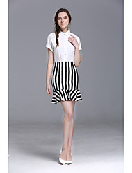 JOJO HANS Women's Formal Office & Career Striped Skirts Fashion Summer Shirt Skirt Suits,Solid Striped Shirt Collar Short Sleeve strenchy