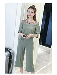 Women's Daily Soak Off Summer Tank Top Pant Suits,Solid Round Neck Half Sleeve