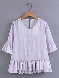 Damen Solide Einfach Alltag Normal T-shirt,Rundhalsausschnitt 3/4 Ärmel Baumwolle