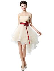 Princesse bretelles asymétriques en tulle robe de demoiselle d'honneur avec bande / ruban