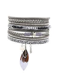 Fashion Women  Crystal Beads Pearl Rhinestone Feather  Magnet Wrap Leather Bracelet