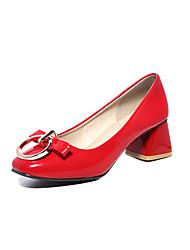 Damen High Heels Komfort Pumps PU Sommer Hochzeit Kleid Komfort Pumps Schnalle Blockabsatz Weiß Schwarz Rot 5 - 7 cm