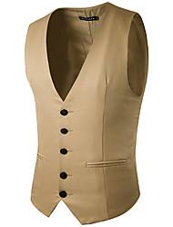 Мужская мода чистый цвет одноразовый джентльмен костюм жилет