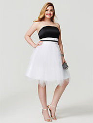 2017 TS Couture Plus Size Homecoming Dress - Open Back Color Block Princess Strapless Knee Length Satin Tulle with Sash / Ribbon Pleats