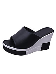 Women's Slippers & Flip-Flops Slingback Comfort Novelty Summer Fall Leather Casual Dress Split Joint Wedge Heel Creepers Platform White