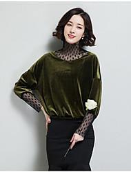 Feminino Camiseta Casual Simples Sólido Outros Colarinho Chinês Manga Longa